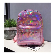 Personality laser backpack lady bag Europe and the United States tide street bright Mummy bag large capacity travel diaper bag new travel bag large capacity men s travel bag europe and the united states style women s bag duffel travelling bags bolsas