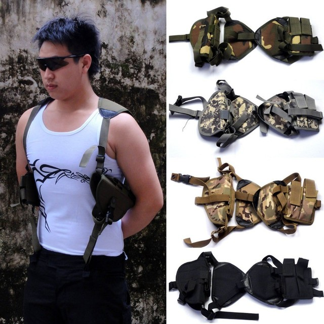 hide Adjustable Shoulder belt Military Tactical army molle Vertical with Pouch Gun accessories Outdoor hunting bags holsters PP