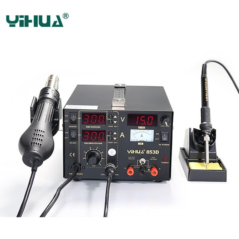 YIHUA 853D SMD DC Питание фена паяльная iron3in 1 паяльная станция 110 В/220 В интеллектуальные контроль температуры