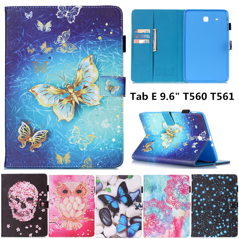 New Flower Skull butterfly Pattern Flip PU Leather Stand Shell Cover Case for Samsung Galaxy Tab E 9.6 T560 T561 Tablet case flip left and right stand pu leather case cover for blu vivo air