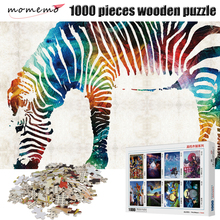 MOMEMO Color Zebra Puzzle Jigsaw Puzzles for Adults Wooden Toys 1000 Pieces Puzzle Games Animal Wooden Puzzles for Children Toys puzzle therapist one a day sudoku for the utterly obsessed large print puzzles for adults