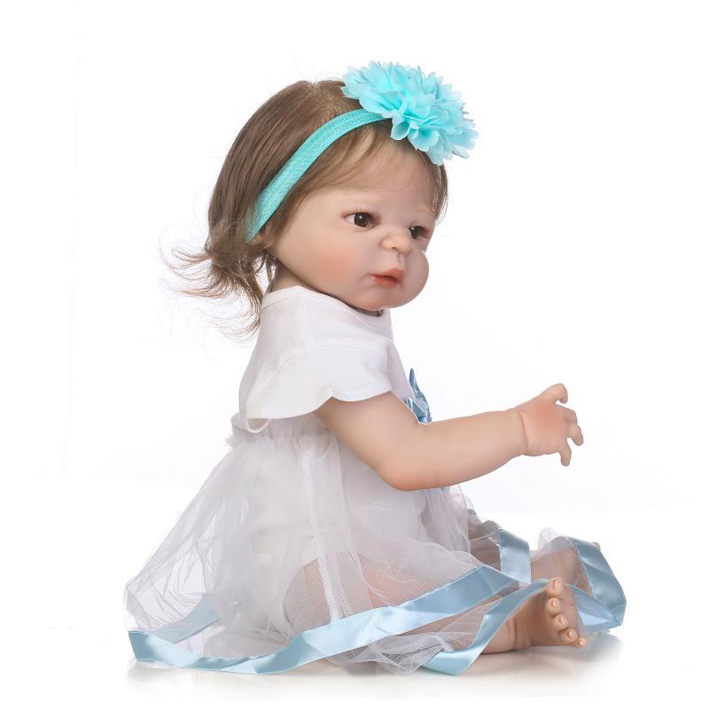 Réel comme 57 cm princesse bébé poupées étanche 23 pouces plein Silicone vinyle corps bébés renaître enfants jour cadeau pour mère enfant - 5