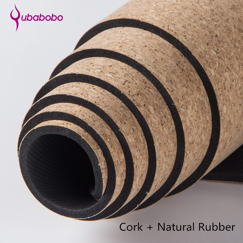 QUBABOBO 5MM Non-slip Cork Natural Rubber Yoga Mats For Fitness Women Pilates Gymnastics Mats Brand Yoga Exercise Pads Sport Mat gymnastics mat thick four folding panel fitness exercise 2 4mx1 2mx3cm