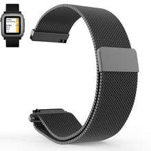 Hot sales Pebble Time / Pebble Time Steel Milanese Magnetic Loop Replacement Watch Band Strap for Pebble Time Steel 22 mm
