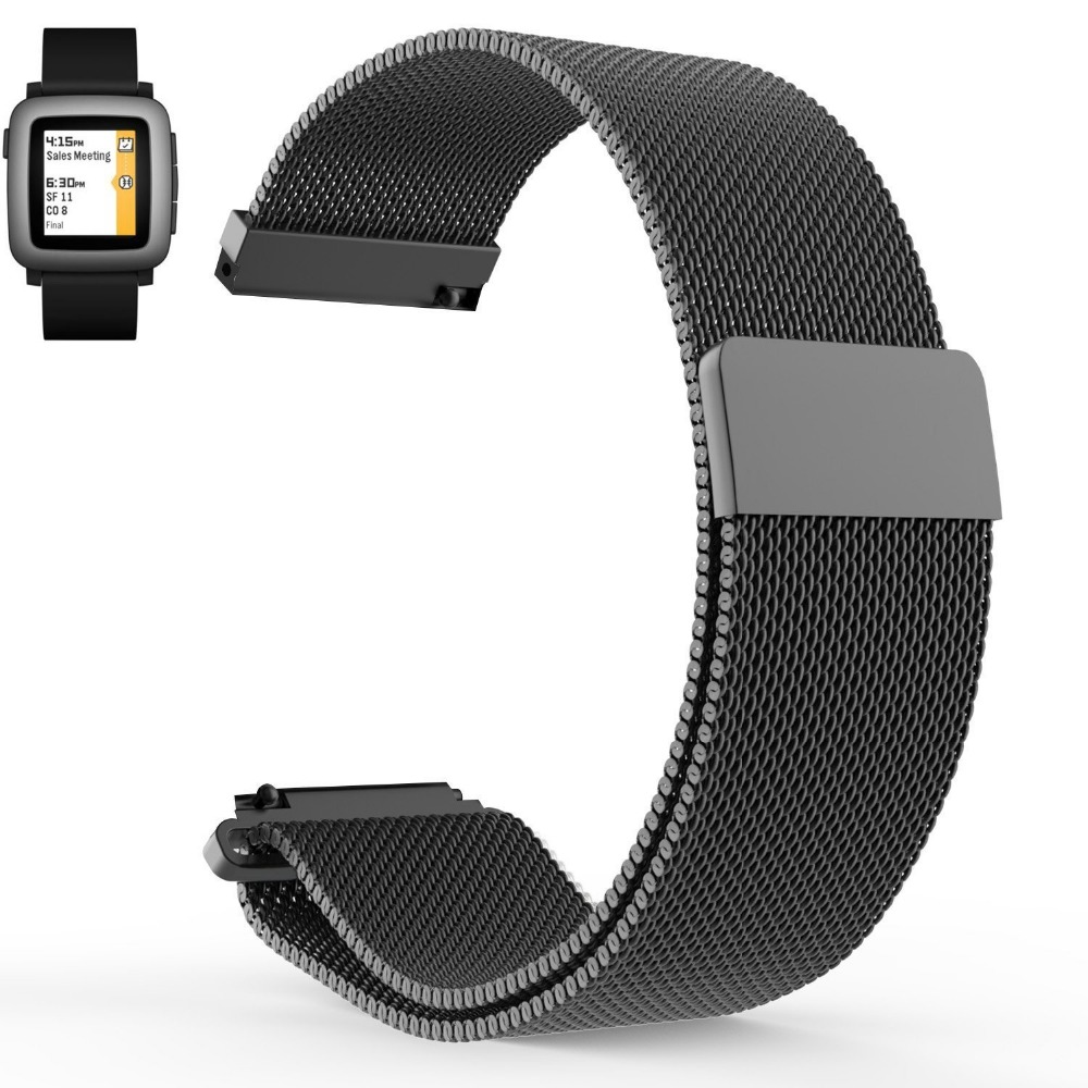 Hot sales Pebble Time Pebble Time Steel Milanese Magnetic Loop Replacement font b Watch b font