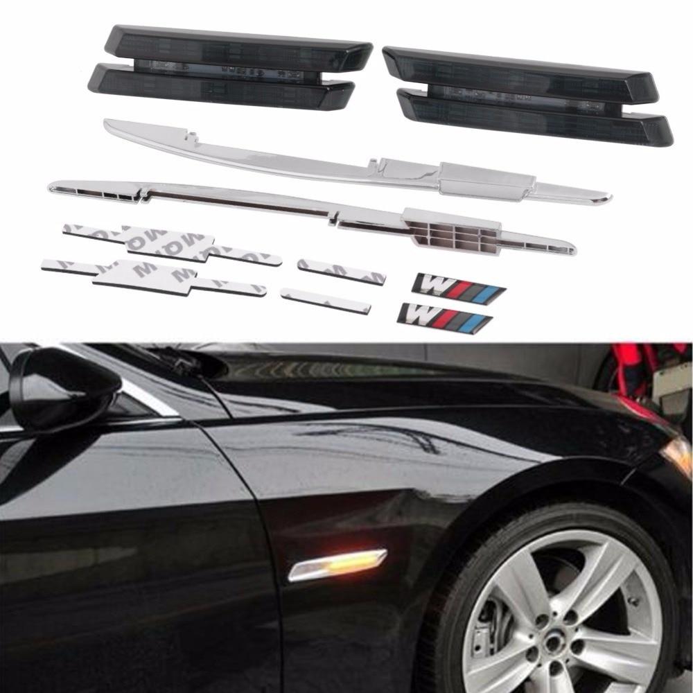 For BMW 2PCS Amber Silver Smoked Side Marker Lamps 6 LED For E81 E88 E90 E92 E60 Auto Light мебель импэкс модель 81 vegas light amber 2
