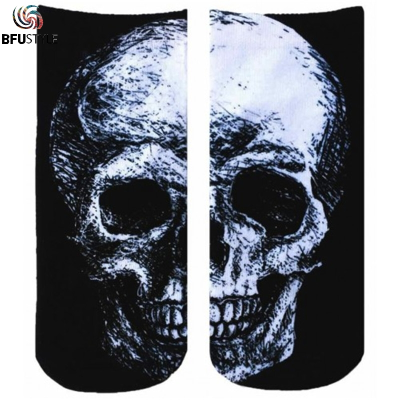 Skull Socks Men Women 2018 New Fashion Hip Hop Streetwear 3D Funny Socks Casual Cotton Sokken Ankle Short Compression Socks