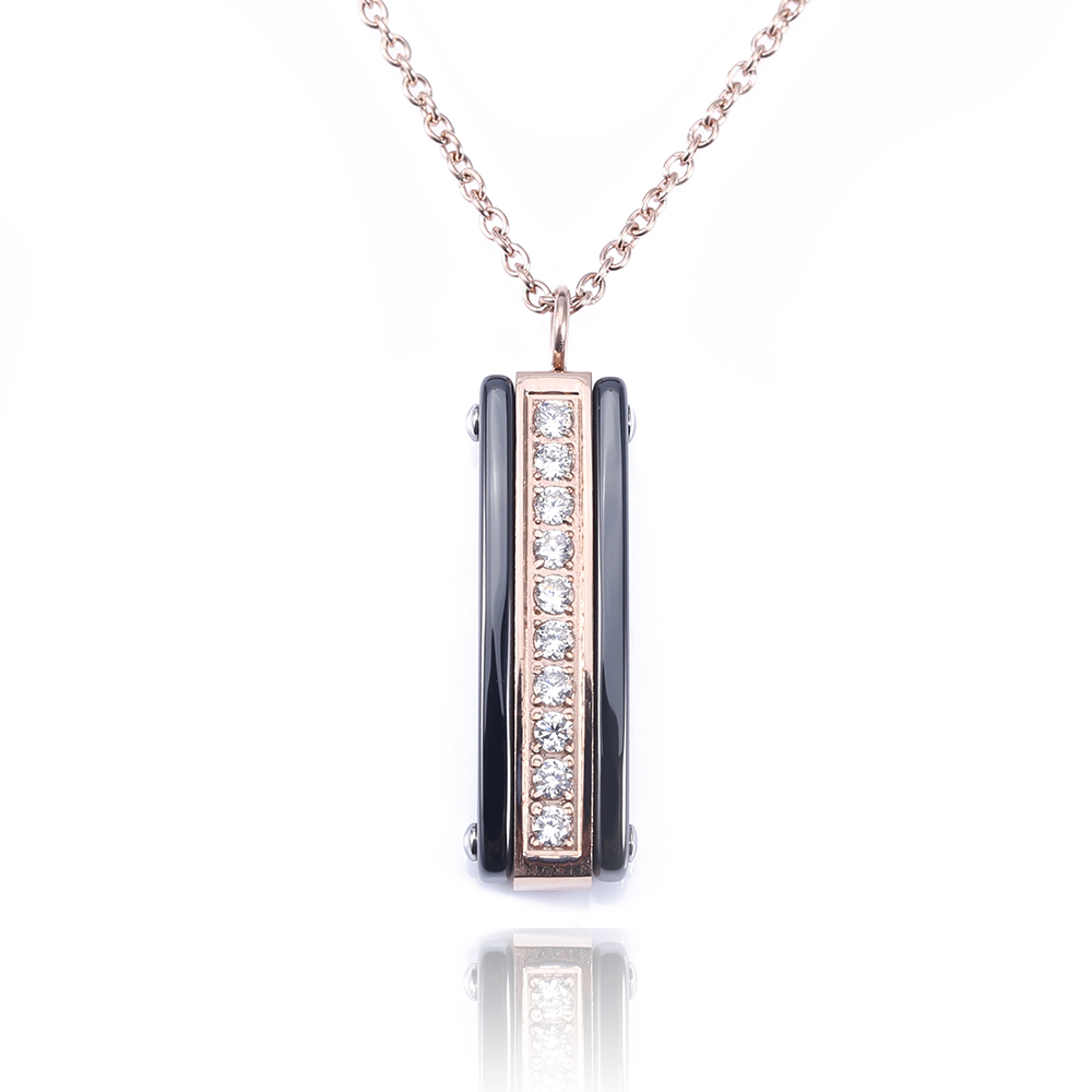 TL Black Ceramic Rectangle Necklaces For Women Silver&Rose Gold Color Zircon Surface Shiny Pendant Necklaces With Extended Chain