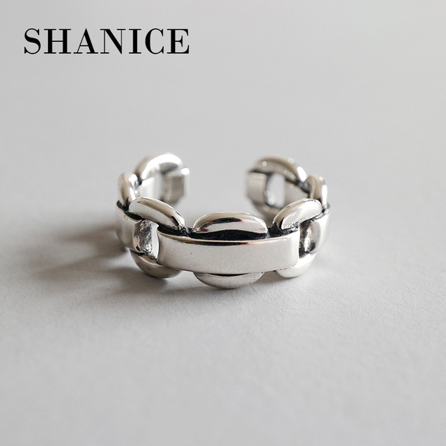 9a189237dbc8 SHANICE Vintage 925 anillos de plata de apertura trabajo pesado hacer el  viejo cadena Twisted modelos