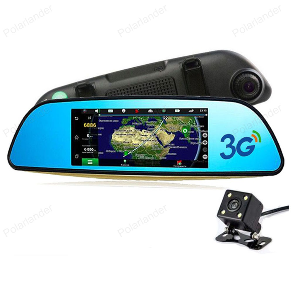 7 inch Android 4.4 Car DVR Dual Lens dash Camera Rearview mirror FHD 1080P video recorder Bluetooth WIFI FM GPS ROM 16GB