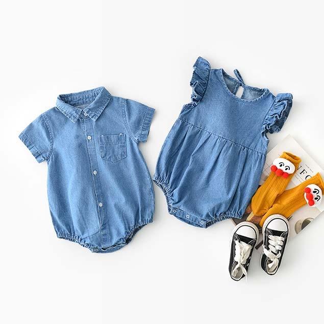 Ins Cute Baby Boys Girls Ruffles Denim Rompers Summer Blue