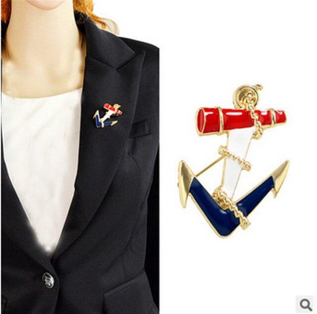 Kpop Vintage Fashion Sea Enamel/ancora Navy Anchor Brooch/women Suit Lapel  Pin Accessories