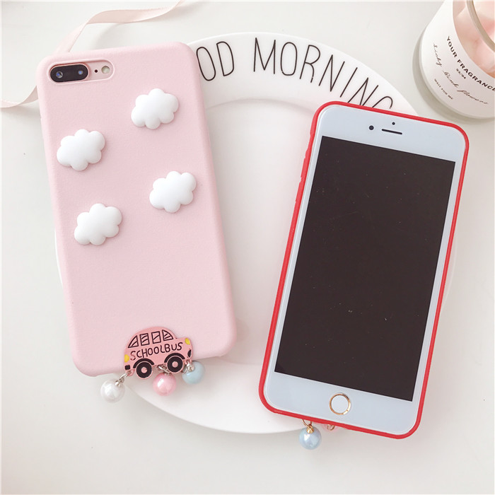Candy Pink Color Case For Google Pixel 2 XL Pixel2 White Clouds Bus Pearl TPU Case