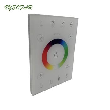 Neue UX7 Led RGB Controller 2,4 GHz RF Remote Wireless DMX512 4 Zone Glas Touch Panel Controller 4 Zone 5050 3528 RGB Streifen