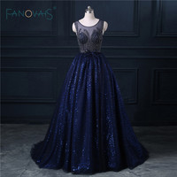 Real Image Navy Blue See Through Sequin Beading Evening Dress 2015 New Arrival Formal Dress Vestido