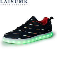2019 LAISUMK USB Charging Glowing LED Sneakers Men Unisex Casual Light Shoes 11 Colors LED Slippers Luminous Sneakers