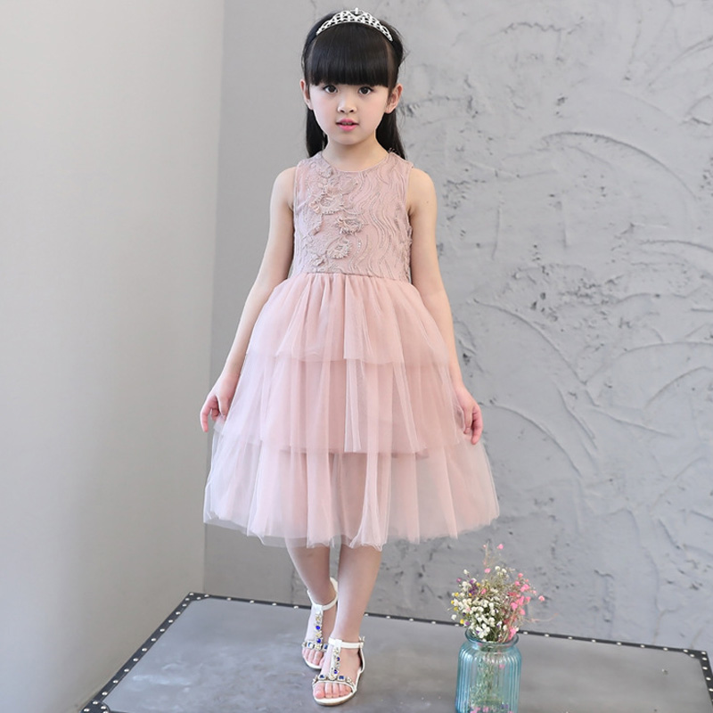 Baby Girls Dress 2017 Summer New Sleeveless Tulle Lace Layered Party Princess Dress Sweet Cute TuTu Ball Gown Kids Dresses ems dhl free 2017 new lace tulle baby girls kids sleeveless party dress holiday children summer style baby dress valentine