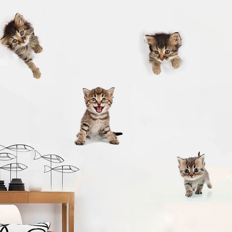 Creative 3D Animal Wall Sticker Lovely Toilet Sticker Kitchen Cabinet Switch PVC Sticker for Home Decoration Wall Art Decals