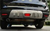 Estilo do carro de aço inoxidável dianteiro + traseiro amortecedor protetor inferior acessórios para nissan rogue x trail t32 2014 2016 2 pcs|Estilo de cromo| |  -