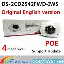 Английская Версия Мини Купол Беспроводная IP Сетевая Камера 4MP DS-2CD2542FWD-IWS Full HD Встроенный Микрофон Аудио Вход WDR Поддержка