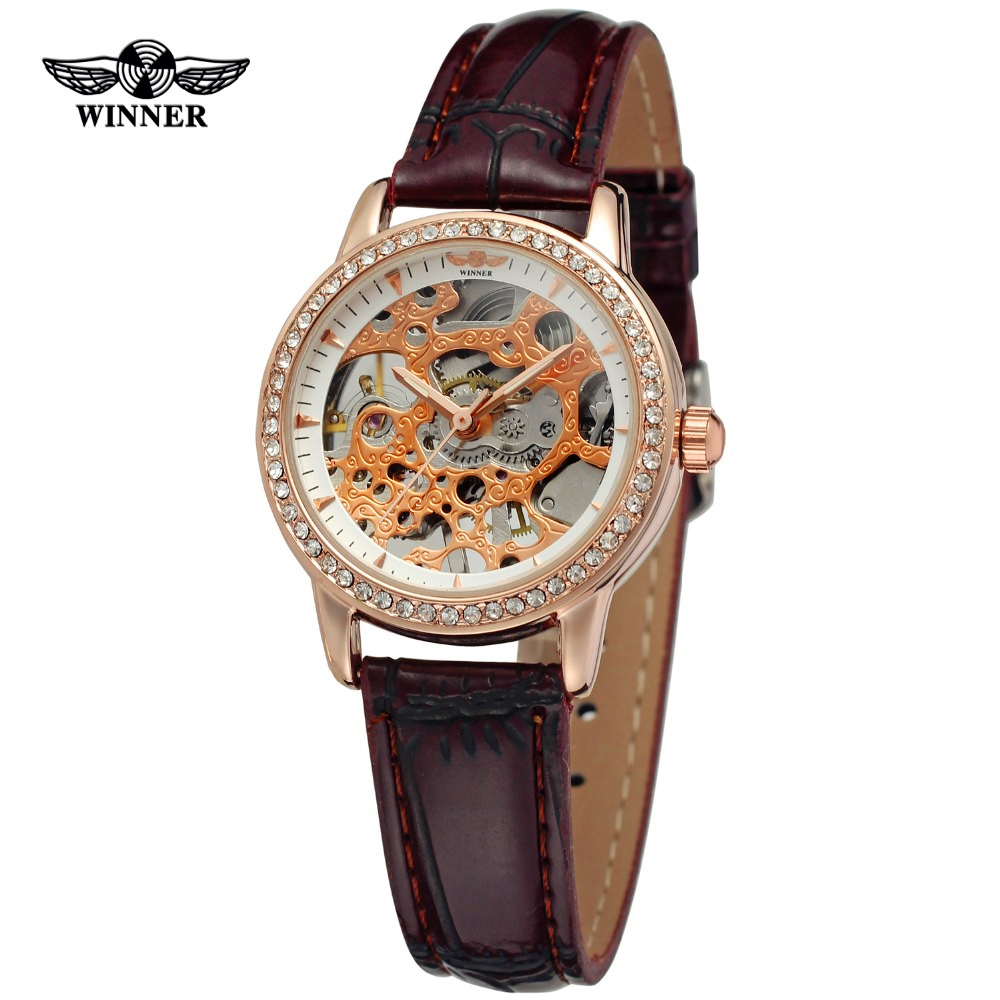 WINNER Women Luxury Brand Stones Skeleton Leather Band Ladies Watch Mechanical Hand Wind Wristwatches Gift Box Relogio Releges winner brand men luxury see through skeleton stainless steel watch mechanical hand wind wristwatches gift box relogio releges