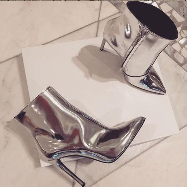 2016 LTTL Autumn women silver ankle boots pointed toe high heel zapatos mujer drop shipping