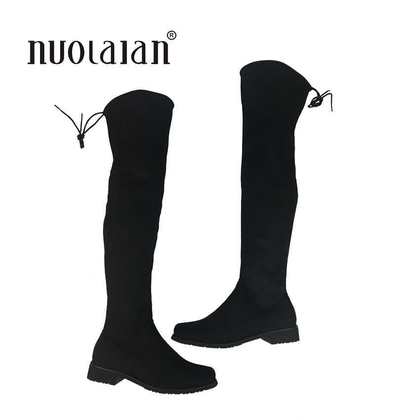 2018 kadın uyluk diz üzerinde yüksek çizmeler motosiklet botları kış ve sonbahar kadın ayakkabı artı boyutu 4-11 botas mujer femininas