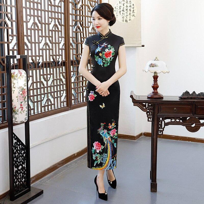 Black Vintage Slim Mandarin Collar Elegant Cheongsam NEW Lady Qipao Phoenix Rayon Plus Size Chinese Dress Show Clothing M 3XL