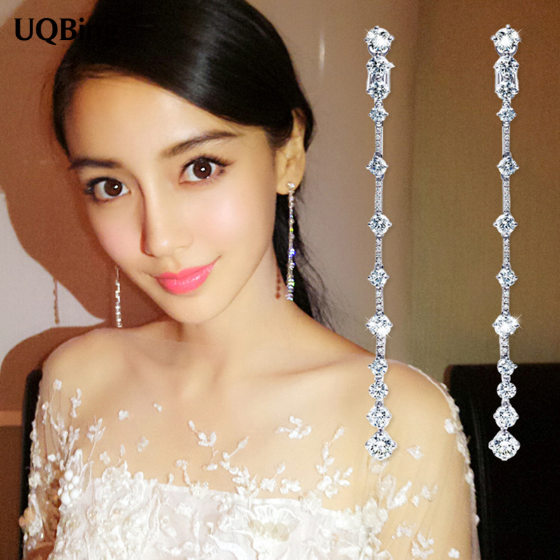 Good Jewelry Fashion Pure 925 Sterling Silver Drop Earrings Long Zirconia Crystal Earrings Jewelry Pendientes Brincos platinum plated 925 sterling silver dazzling cubic zirconia halo drop earrings womens jewelry