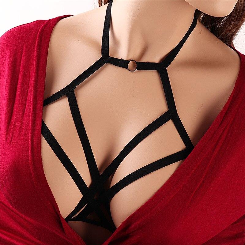Bondage Harness Bodysuit Crop Top Black Open Chest Cage Bra Fetish Wear Bottom Panties Body Harness Sexy Lingerie in Garters from Underwear Sleepwears