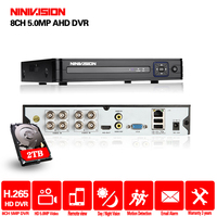 AHD 5MP 1080P 4CH 8CH CCTV AHD DVR Mini DVR For CCTV Kit VGA HDMI Security System Mini NVR For IP Camera Onvif DVR PTZ H.265