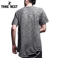 Tangnest zomer 2017 korte mouwen hiphop t-shirts nieuwe ontwerp gat tope selling 4 kleuren mannelijke aziatische size top tees mts1900