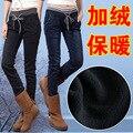 Das 2016 mulheres novas de inverno quente engrosse jeans skinny da Senhora cintura alta além de veludo calças jeans Femininas calças compridas