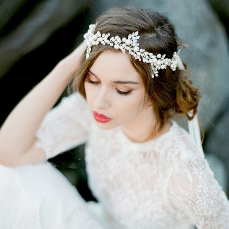 2017 new arrival handmade alloy wired rhinestones crystals pearls flower leaf wedding headband bridal hair vine