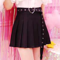 2018 nuevas minifaldas de verano para mujer, Mini faldas de corazón Harajuku, lindas y dulces, S-L, 4 colores, faldas plisadas para mujer #5167
