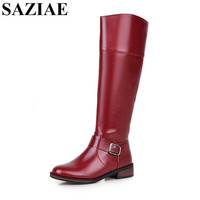 2016 Women Riding Boots Round Toe Knee High Low Heel Motorcycle Boots Shoes Zipper Women Boots