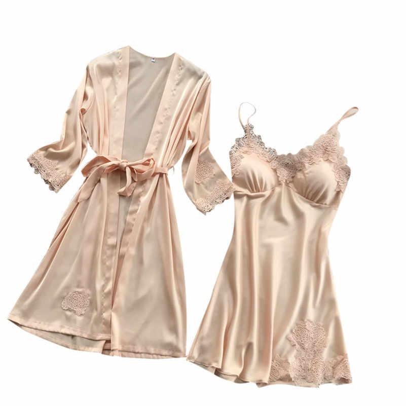 הלבשה תחתונה נשים משי תחרה חלוק Babydoll כתנות לילה הלבשת קימונו סט Mulher דה פיג 'מה פיג' מה Mujer Nocturn AA