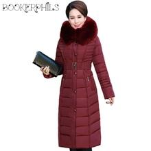 Winter Jacket Women Middle-aged X-Long Plus Size Thick Fur Collar Winter Coat Women Long Parkas Hooded Cotton Outerwear L-5XL стоимость