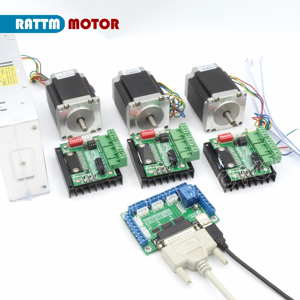 EU ship! 3 Axis CNC Stepper motor Kit A axis TB6560 driver & interface board & Nema23 270 Oz-in stepper motor for Router Machine