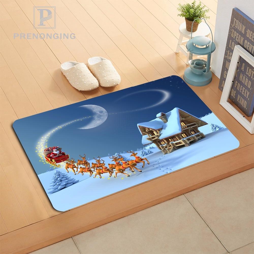 Custom Merry Christmas Doormat Print slip-resistant Mats Floor Bedroom Living Room Rugs 40x60cm 50x80cm Free Shipping 171120-06