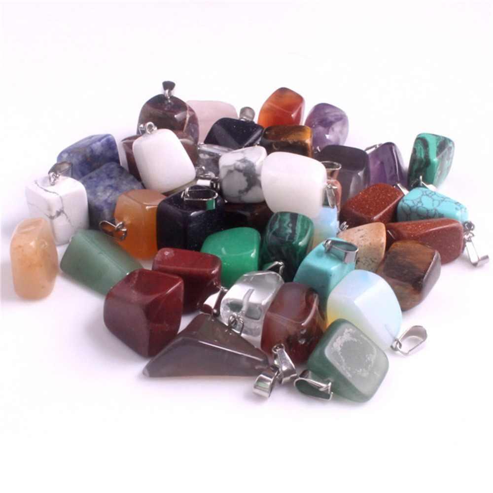 ขายส่ง 50 ชิ้น/ล็อตหินธรรมชาติคริสตัลควอตซ์ผสมสีสุ่มไม่สม่ำเสมอ Charm Healing Reiki ลูกตุ้มหินจัดส่งฟรี