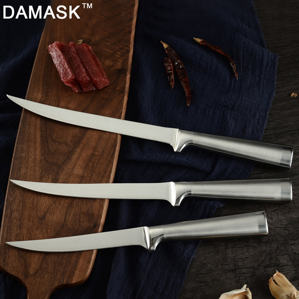 Damask 3Cr13mov Germany Stainless Steel Kitchen Knife Fillet Boning Knives Eviscerate Fish Sculpture Cleaver Sharp Cooking Tools