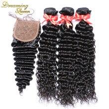 7A Grade Silk Base Closure With Bundles Peruvian Virgin Hair Deep Wave With Silk Base Lace