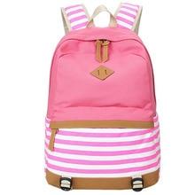 Leinwand frauen rucksack mädchen schultasche rucksack für jugendliche striped drucken campus frauen rucksäcke