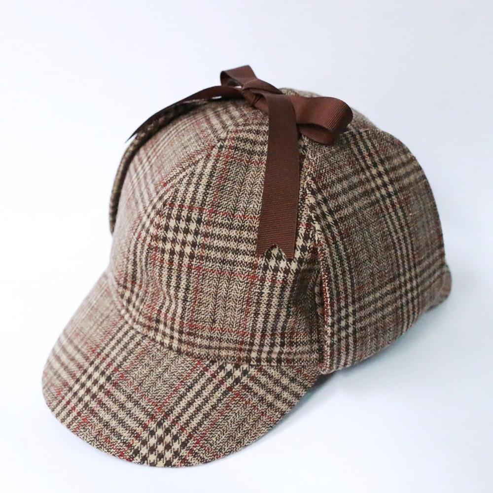 2e1ef453 ... High Quality Cosplay Cap Detective Sherlock Holmes Deerstalker Hat Gray  Black Brown Caps New Berets Cap ...
