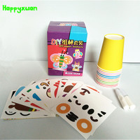 DIY Handmade Children Stickers Creative Cup Gift Box Cartoon Animal Puzzle Toy Package