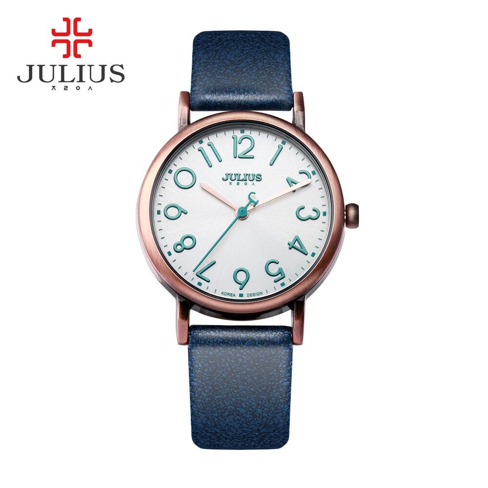 Zegarki kobiety moda JULIUS zegarek 2017 duży, łatwy przeczytaj numer różowe złoto antyczne zegarek Orologi donna bajan Kol Saati JA 911 w Zegarki damskie od Zegarki na  Grupa 1