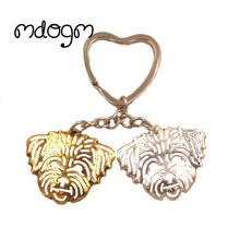 2017 New Cute Lhasa Apso Dog Animal Gold Silver Plated Metal Pendant Keychain For Bag Car Women Men Key Ring Love Jewelry K157