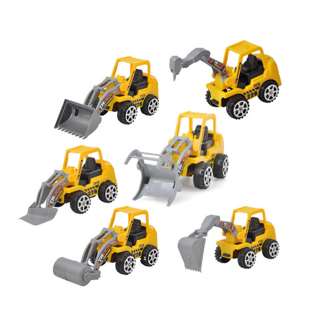 1pc Kids Mini Construction Vehicle Toys Bulldozer Road Roller Excavator Model  Dump Truck Tractor Car Toys for Boy Random Ship
