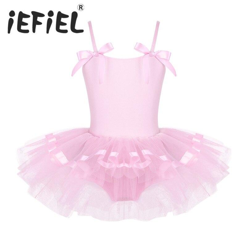 iEFiEL Kids Girls Children Spaghetti Shoulder Straps Ballet Tutu Dress with Bowties Ballet Dance Gymnastics Leotard Dancewear